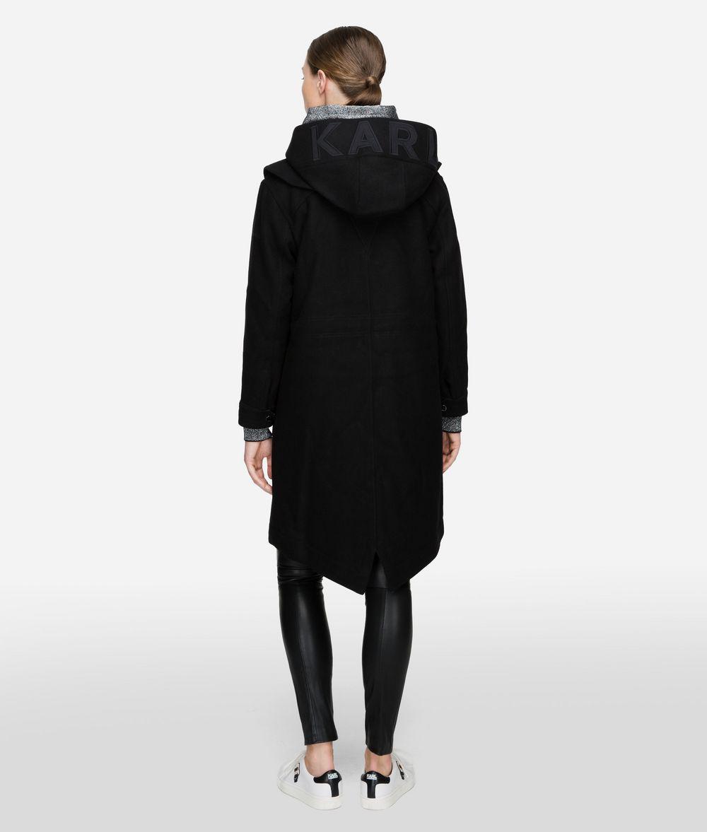 KARL LAGERFELD Wool Blend Hooded Parka Coat Outerwear Woman d