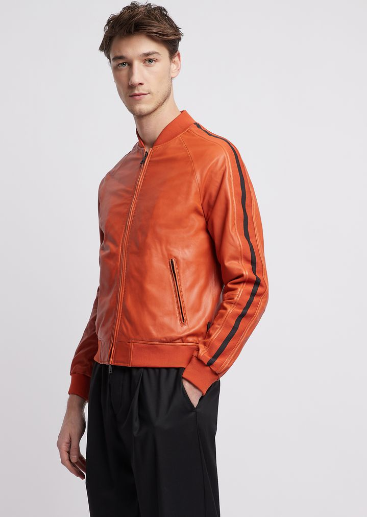 230df2a50 Bomber jacket in nappa leather with contrast inserts on the sleeves ...