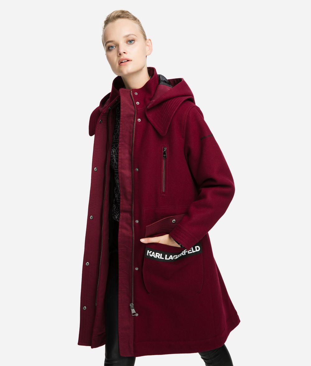KARL LAGERFELD Wool Blend Hooded Parka Coat Outerwear Woman f