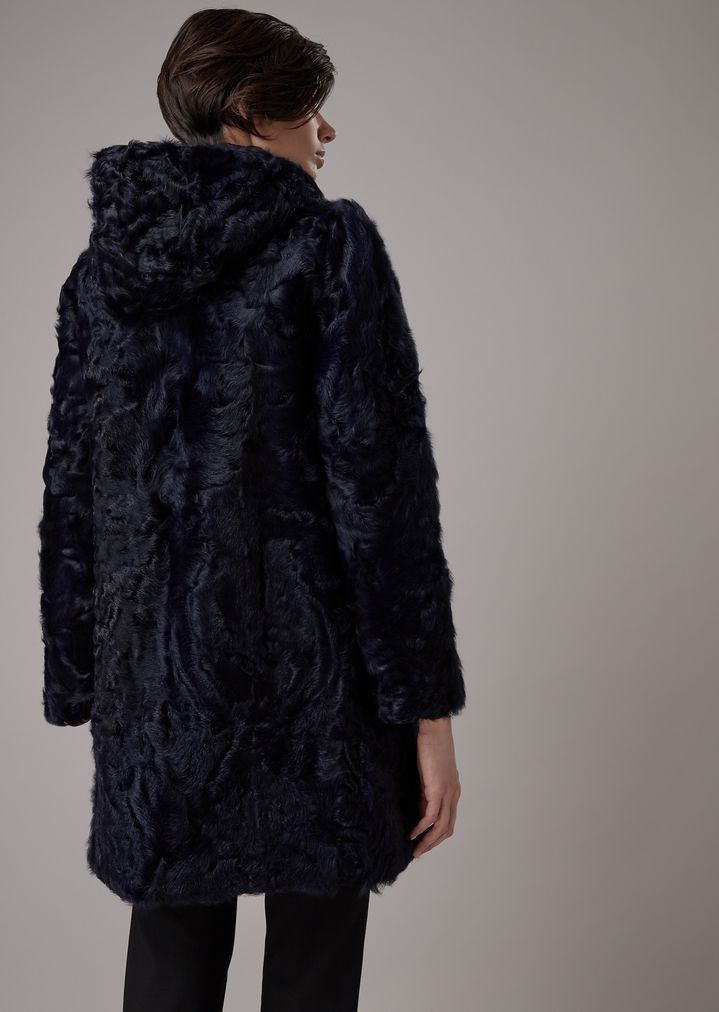 36046e7e65 Reversible coat with Tianjin lamb fur hood | Woman | Giorgio Armani