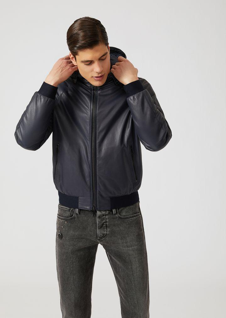 8d9e13fc1 Light nappa bomber jacket with hood | Man | Emporio Armani