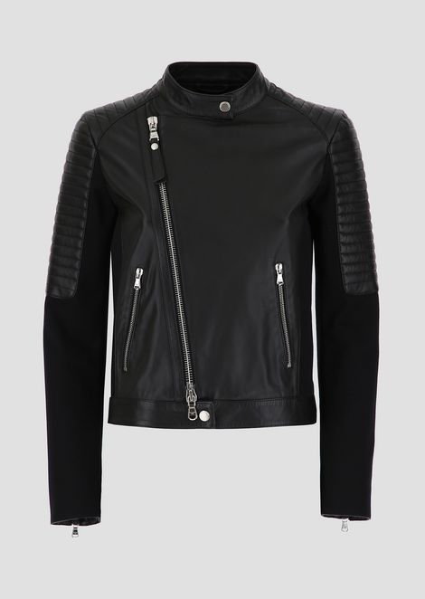 Biker jacket in nappa leather with sleeves and side panels in cotton