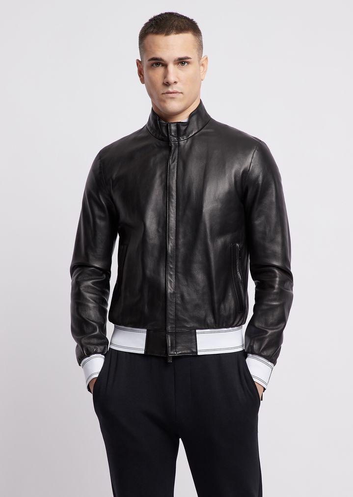 f8cd036dd0c Nappa leather bomber jacket with stretch knit trims | Man | Emporio Armani