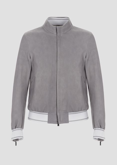 Nappa leather bomber jacket with stretch knit trims
