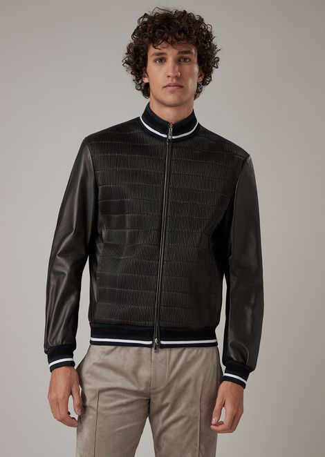 Jacket in glove-quality nappa lambskin with a stitched stretch effect on the front
