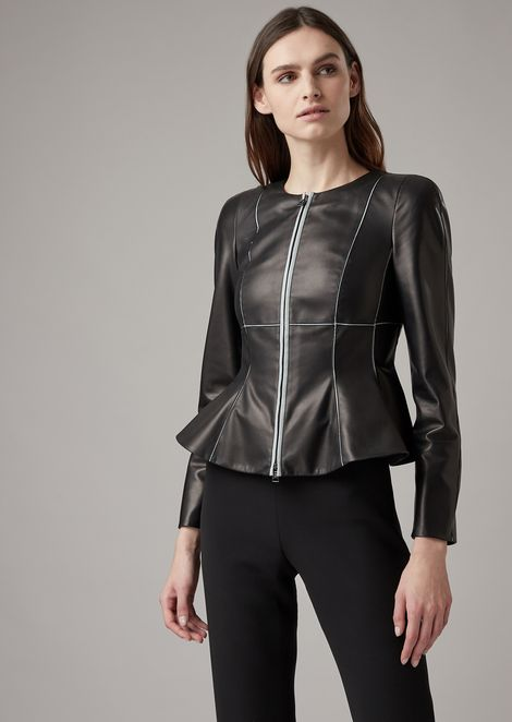 Lambskin nappa jacket with flared hem and contrasting grosgrain details