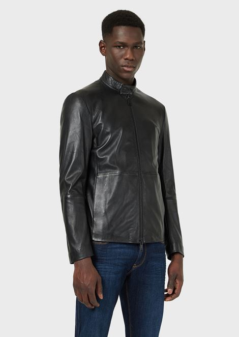 Semi-aniline nappa leather jacket with a soft feel