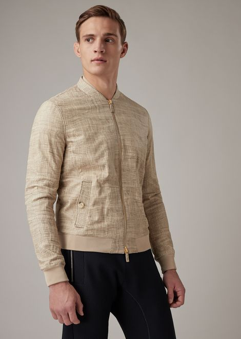 Glove-quality nappa lambskin jacket with irregular linen design