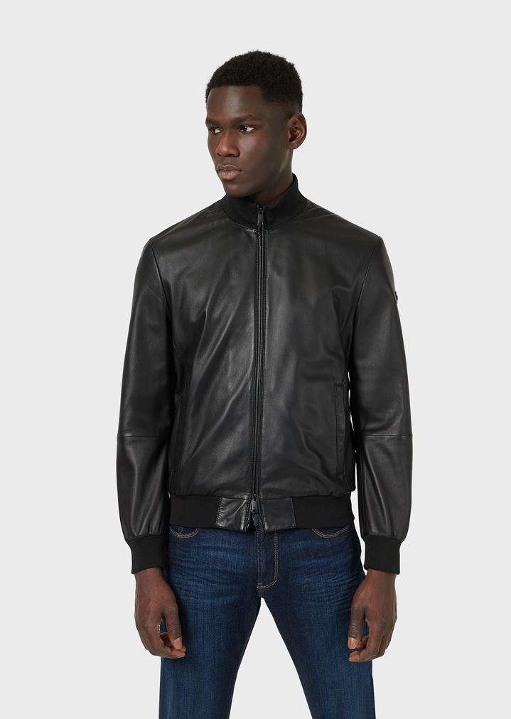 b30407c73 Lambskin nappa leather bomber jacket with a soft feel