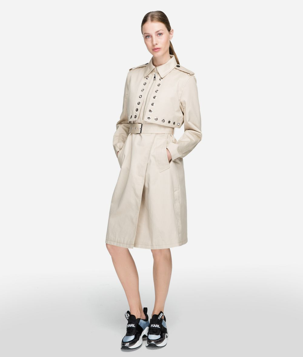 KARL LAGERFELD Eyelet Trench Coat Woman f