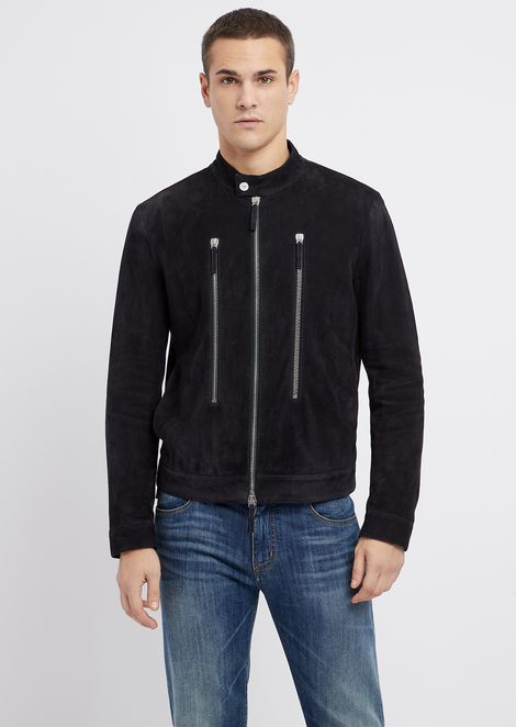 Biker jacket in full thickness suede