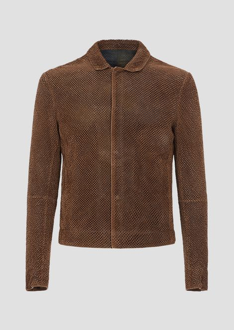 Vegetable-tanned, perforated and garment-dyed suede jacket