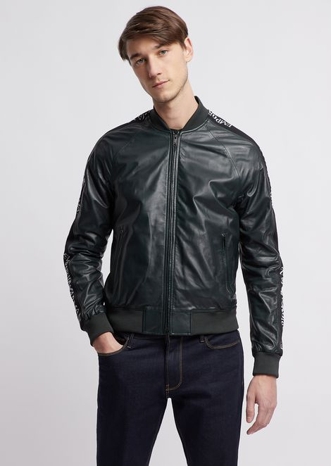 Soft nappa leather bomber jacket with jacquard logo bands