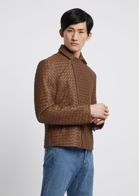 Biker jacket in crocodile-print, vegetable-tanned nappa leather