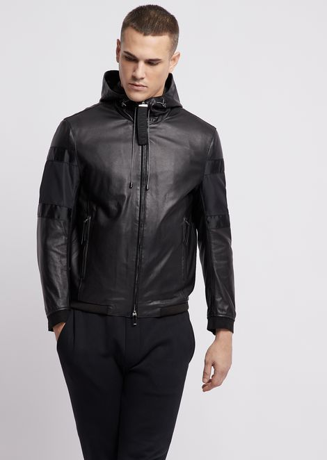 Leather blouson with drawstring hood