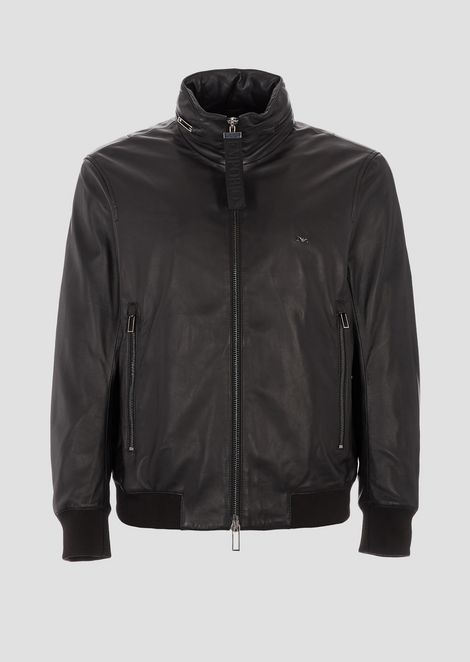 Leather bomber jacket with concealed hood