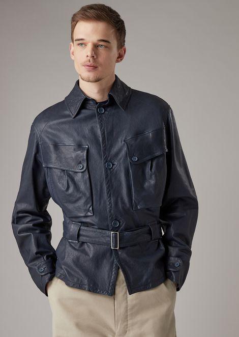 背面徽标装饰成衣水洗纳帕羔羊皮游猎夹克