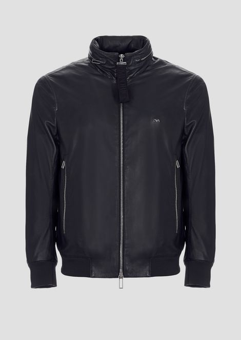 Leather bomber with concealed hood