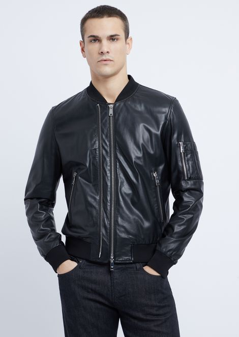 Soft nappa leather bomber jacket with embroidered logo on the back