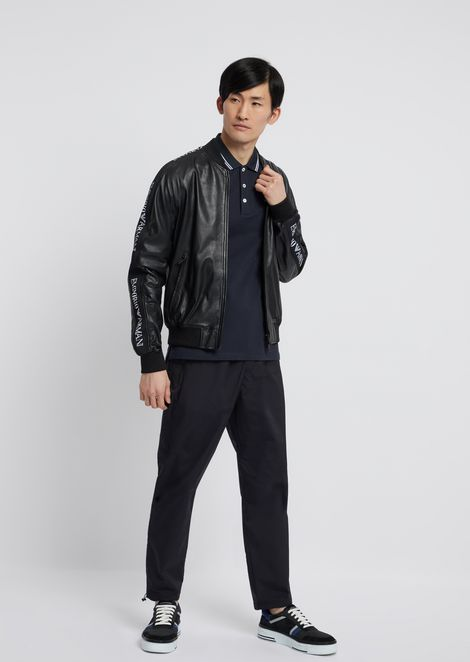 Soft nappa leather bomber jacket with jacquard logo bands