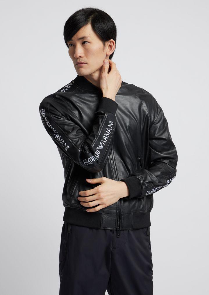 7c7c5eb5f Soft nappa leather bomber jacket with jacquard logo bands