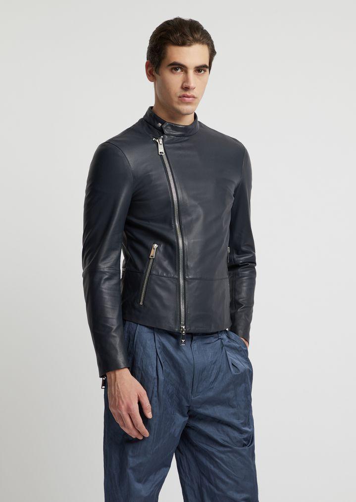 42dbf7f569 Biker jacket in soft nappa leather with matching nylon windbreaker ...