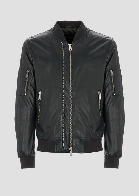 Soft nappa bomber jacket with double slider zip