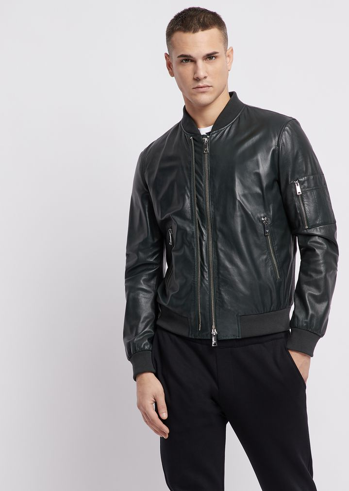 4691d4ccb Soft nappa bomber jacket with double slider zipper