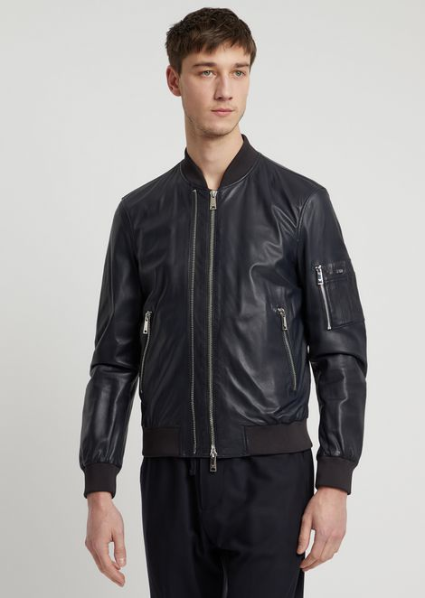 Soft nappa bomber jacket with double slider zipper