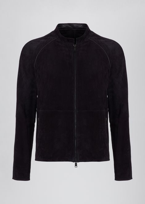 Perforated suede leather jacket with inner coating