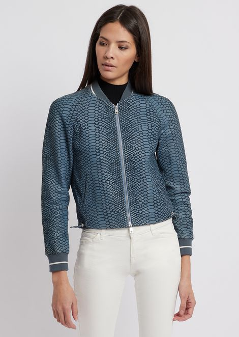 Jacket in lambskin nappa leather laser-cut with python design