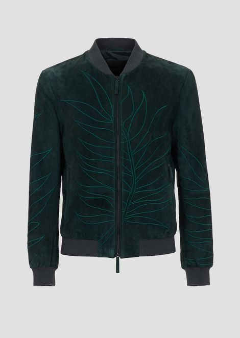 Suede leather bomber jacket with the embroidered leaf from the collection