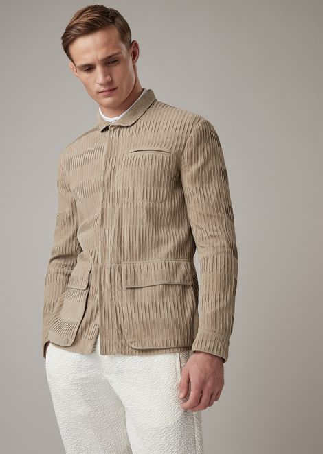 Safari jacket in pleated goat suede