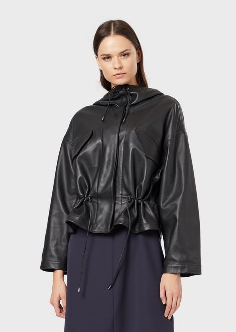 Nappa leather blouson with drawstring hood
