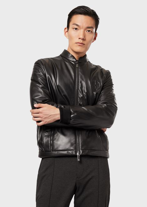 Blouson with leather front and quilted rear