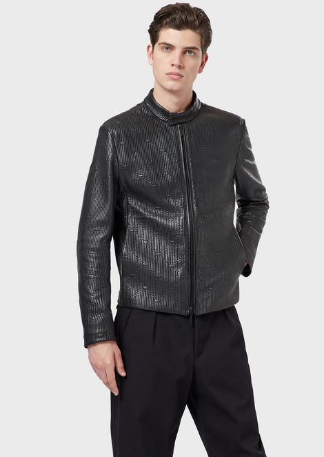 Jacket in lambskin nappa leather with quilted motif