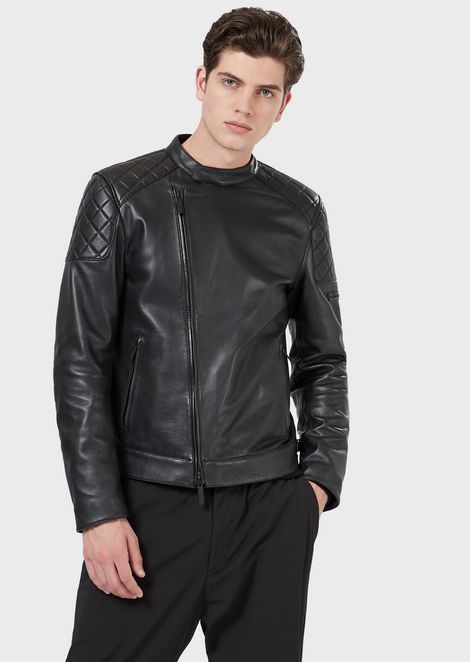 Jacket in faux plongé nappa leather with quilted motifs
