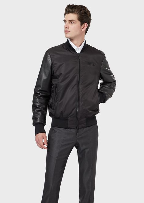 Nappa leather bomber with star embroidery