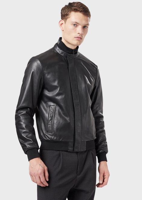 Nappa leather bomber with padding and logoed collar