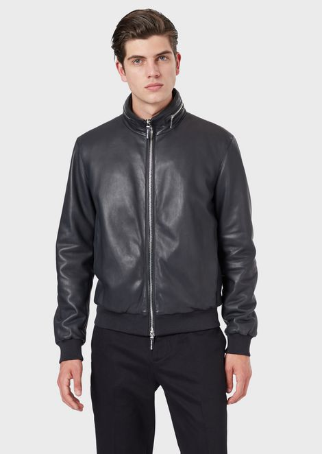 Bomber jacket in faux plongé nappa lambskin with fold-away hood