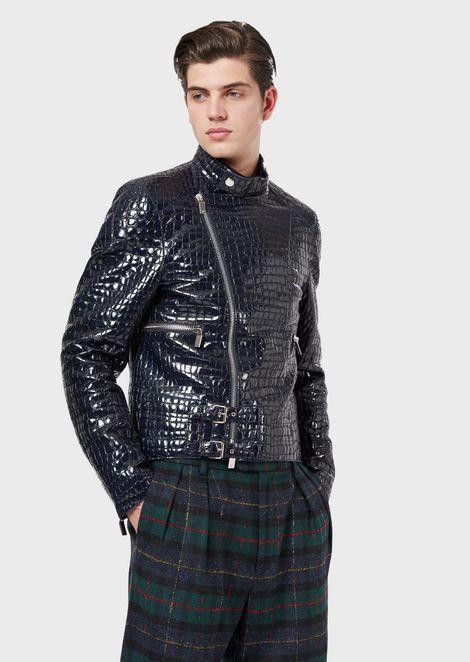 Lambskin nappa leather jacket with crocodile print