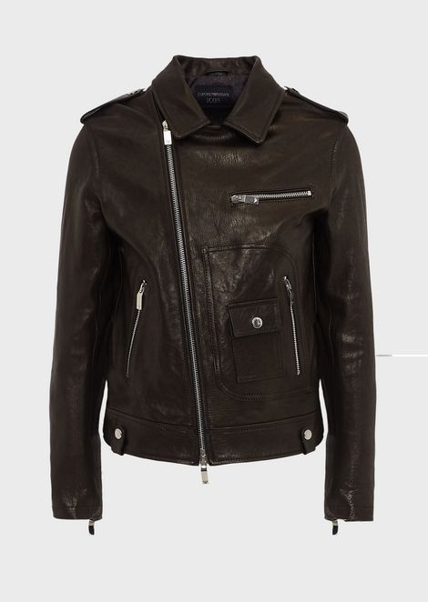 Vegetable-tanned lambskin nappa leather jacket with off-centre zip