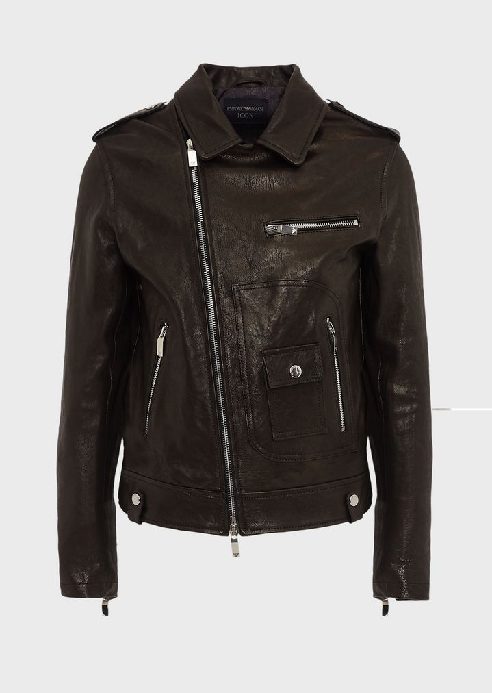 f7a9d516c2 Vegetable-tanned lambskin nappa leather jacket with off-centre zip