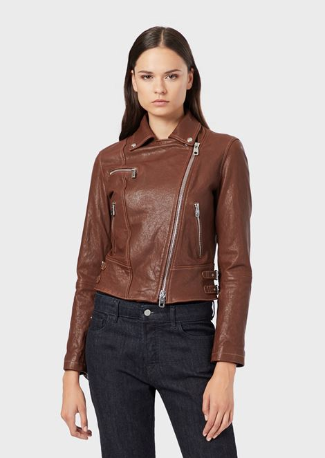 Multi-pocket nappa leather biker jacket