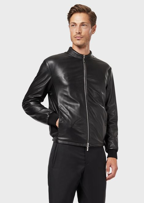 Reversible tanned Nappa leather and embossed-logo velvet blouson jacket
