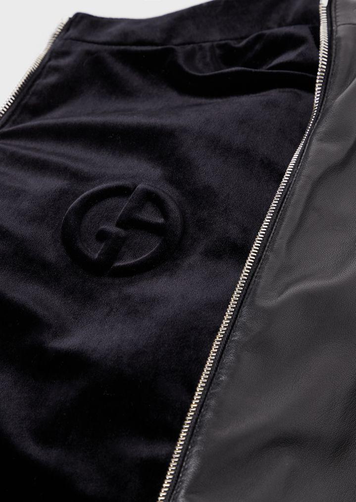 cd6239e9e0 Reversible tanned Nappa leather and embossed-logo velvet blouson jacket