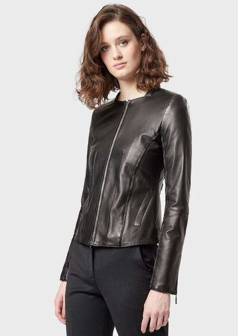 Glove-like lamb nappa leather jacket with satin trim