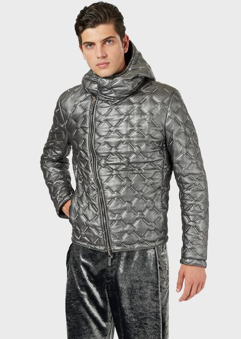 Reversible jacket in metallic and quilted lambskin nappa leather