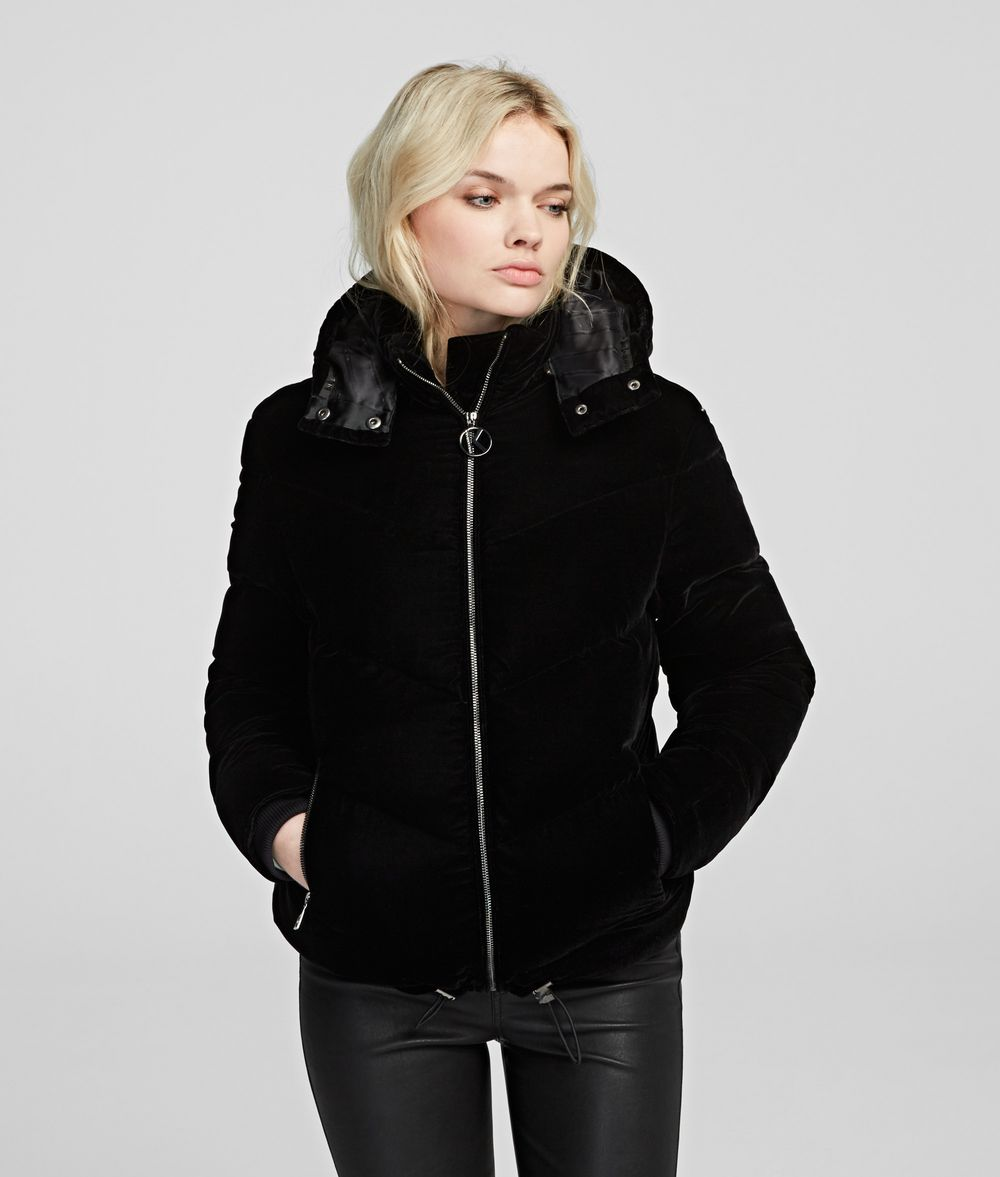 KARL LAGERFELD Velvet Down Jacket Outerwear Woman f