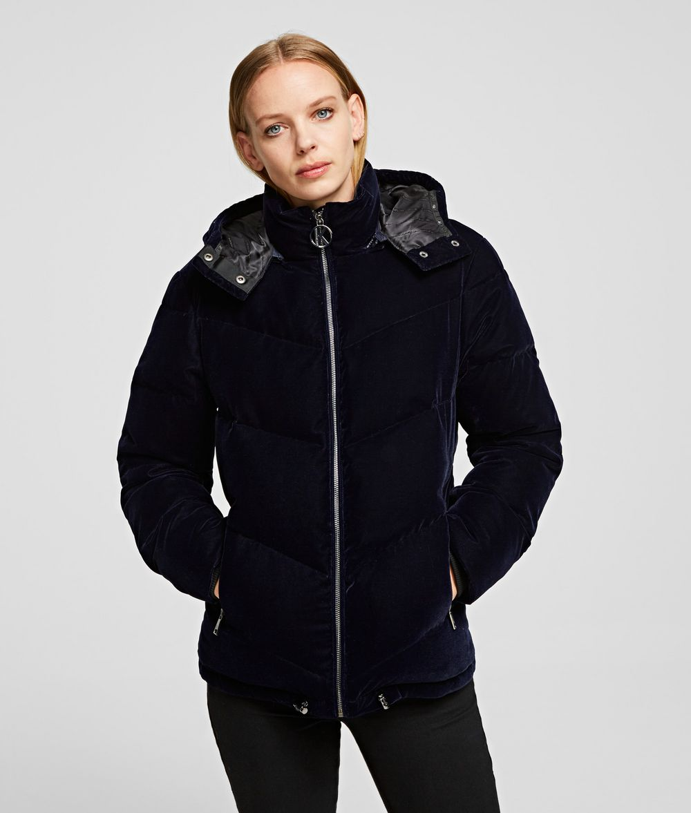 KARL LAGERFELD Velvet Down Jacket Outerwear Woman f